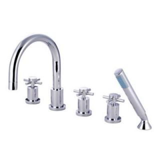 Kingston Brass 3 Handle Deck Mount Roman Tub Faucet with Hand Shower in Chrome HKS83215DX