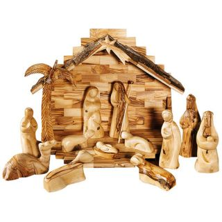 Modern Olive Wood Nativity Set with Stable and Palm Tree by CarversArt