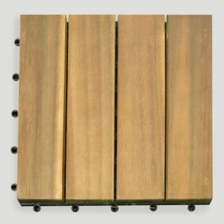 Acacia Wood 4 Slat Interlocking Deck Tiles, 10 Count
