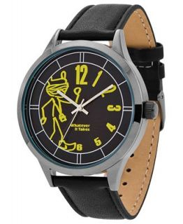 Whatever It Takes Watch, Mens Kanye West Black Leather Strap 42mm