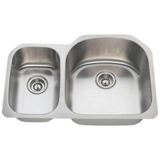 Polaris Sinks Undermount Stainless Steel 32 in. Double Bowl Kitchen Sink PR1213 16