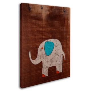 Elephant on Wood by Nicole Dietz Painting Print on Wrapped Canvas by