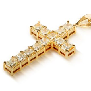 Annello 14k Gold 3 2/5ct TDW Fancy Yellow Diamond Cross Necklace