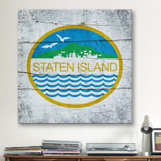 Flags Staten Island Wood Planks with Grunge Graphic Art on Canvas by