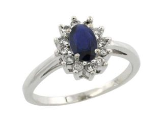 10k White Gold ( 6x4 mm ) Halo Engagement Created Blue Sapphire Ring w/ 0.212 Carat Brilliant Cut Diamonds & 0.45 Carat Oval Cut Stone, 7/16 in. (11mm) wide
