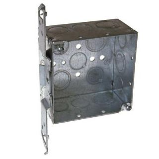 4 in. Square Welded Box, 2 1/8 Deep with 1/2 & 3/4 in. TKO's and TS Bracket 8235