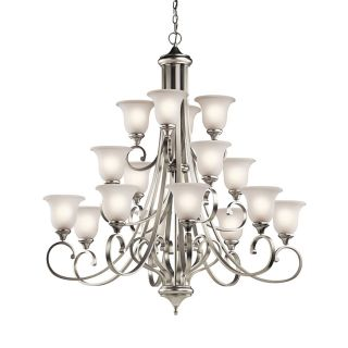 Kichler Lighting Monroe 45 in 16 Light Brushed Nickel Vintage Etched Glass Tiered Chandelier