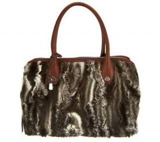 B. Makowsky Faux Fur Zip Top Satchel with Leather Trim —