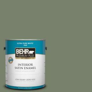 BEHR Premium Plus 1 gal. #430F 5 Bahia Grass Zero VOC Satin Enamel Interior Paint 730001