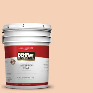 BEHR Premium Plus 5 gal. #280C 2 Serene Peach Zero VOC Flat Interior Paint 105005