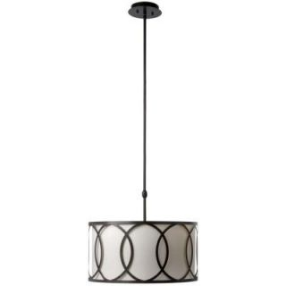 Hampton Bay Davenport 3 Light Oil Rubbed Bronze Metal Overlay Drum Pendant ES4764OB4 A