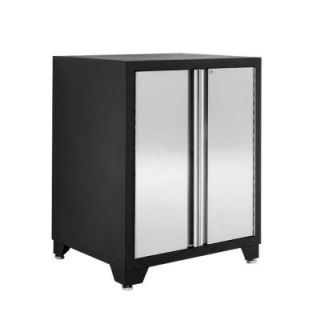 NewAge Products Pro Stainless Steel Series 35 in. H x 28 in. W x 24 in. D 2 Door Garage Base Cabinet in Silver 31702