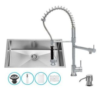 Vigo All in One Undermount Stainless Steel 32 in. 0 Hole Single Bowl Kitchen Sink in Chrome VG15164