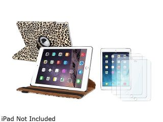 Insten Brown Leopard Ultra Slim Leather 360 Degree Rotating Stand Cover Case + 3x Protector For iPad Air 2 2nd Gen 1991255