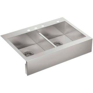 KOHLER Vault Top Mount Stainless Steel 36 in. 4 Hole Double Bowl Kitchen Sink K 3944 4 NA