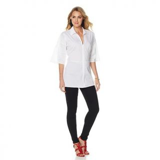 N Natori White Stretch Cotton Shirting Tunic   8059861