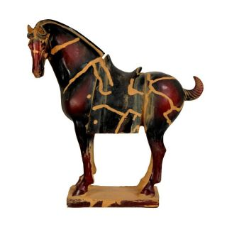 Oriental Furniture Burgundy Antiqued Sand Patina 13inch Chinese Tang Tomb Horse Tabletop Statue