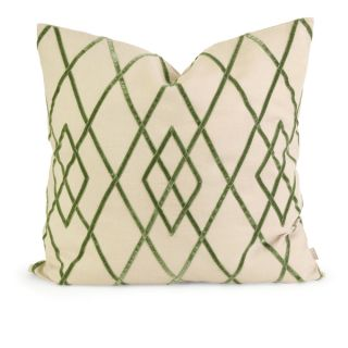 IK Ayaka Green Velvet on Linen Pillow Down and Feather Filled 22 inch