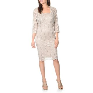 Richards Womens Lace and Sequin Dress with Matching Jacket
