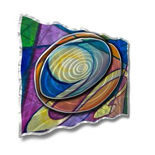 Radiating Ripples by Ash Carl Original Painting on Metal Plaque by