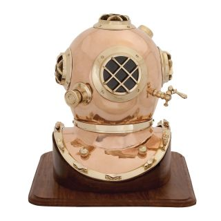 Antique Replica US Navy Mark V Diving Helmet with Wooden Base by EC