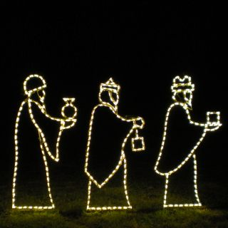 Holiday Lighting Specialists 3.8 ft Small 3 Wise Men Outdoor Christmas Decoration with Incandescent White Lights