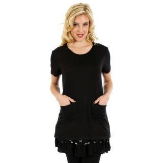 Firmiana Womens Black/ White Lace Polka Dot Short Sleeve Top