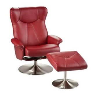 Southern Enterprises Hiro Brick Red Leather Recliner and Ottoman 2256566