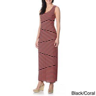 Richards Womens Asymmetrical Layered Striped Maxi Dress