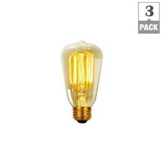 Globe Electric 40 Watt Vintage Edison S60 Squirrel Cage E26 Incandescent Filament Light Bulb   Antique Edison (3 Pack) 31324