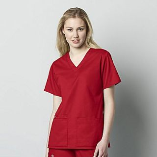 WonderWink WonderWORK Womens V Neck Scrub Top, Red, XX Small