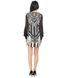 Just Cavalli Maya Print Sheath Dress W Chiffon Sleeves