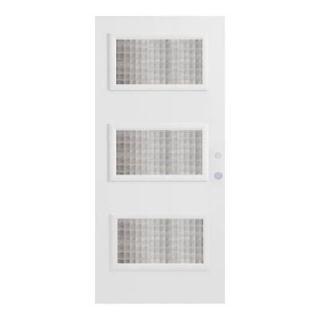 Stanley Doors 32 in. x 80 in. Dorothy Carre 3 Lite Prefinished White Steel Prehung Front Door 1903Y 32 R