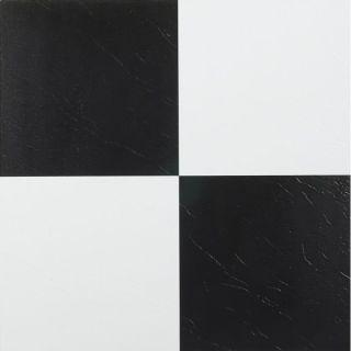 Homeworx Self Adhesive Black and White Vinyl Floor Tiles (60 square