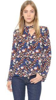 Derek Lam 10 Crosby Longsleeve Floral Ruffle Shirt