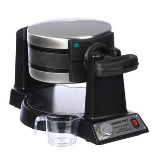 Waring Pro WMK600BKFR Black Double Belgian Waffle Maker (Refurbished