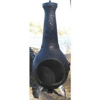 The Blue Rooster Aluminum Wood Chiminea; Charcoal