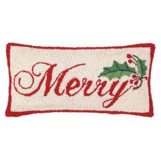 Merry Hook Wool Throw Pillow by Peking Handicraft