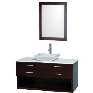 Wyndham Collection Andrea 48 in. Vanity in Espresso with Man Made Stone Vanity Top in White and Sink DISCONTINUED WCS100148ESWHGS3
