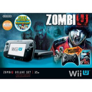 Black Wii U 32GB Deluxe Console with Por Controller, ZombiU and NintendoLand