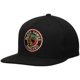 Chicago Blackhawks Mitchell & Ness NHL Vintage Wool Solid Snapback Hat   Black