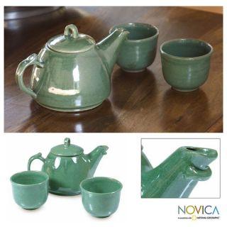 Ceramic Maya Jade 3 piece Tea Set (El Salvador)   13717110