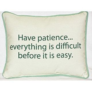 Betsy Drake Interiors Thoughts for the Day Have Patience Indoor/Outdoor Lumbar Pillow