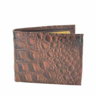LL Fashion Mens Crocodile Skin Embossed Leather Bifold Wallet