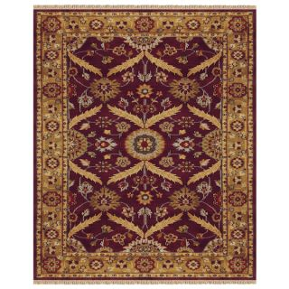 Grand Bazaar Hand knotted 100 percent Wool Pile Pietra Rug in Plum