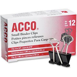 """ACCO Small Binder Clips, Steel Wire, 5/16"""" Cap., 3/4""""w, Black/Silver, Dozen"""