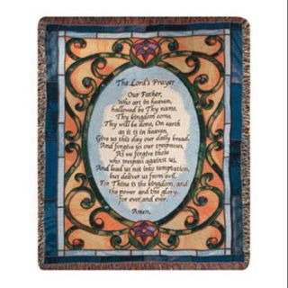 "Religious The Lord's Prayer Stained Glass Style Tapestry Throw Blanket 50"" x 60"""