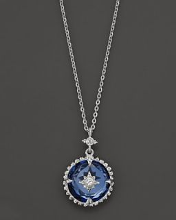 Judith Ripka Sterling Silver Laguna Pendant Necklace with White Sapphire and Lab Created Blue Corundum, 17""