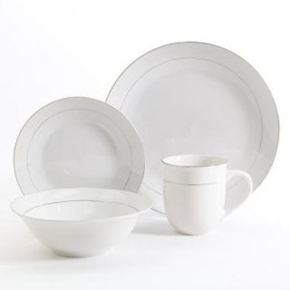 Gibson Home Channing Metal Banded 16 Piece Dinnerware Set