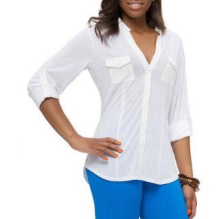 Miss Tina Women's Knit Boyfriend Shirt
